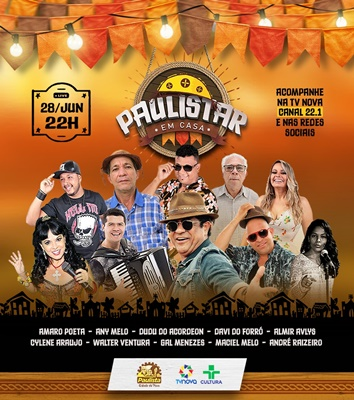 Paulista realiza 'Live Paulistar em Casa' nesta segunda-feira (28), véspera de São Pedro