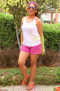 Madhulagna Das Playing Holi Celebrations in White Tank Top Spicy Pics March 2017
