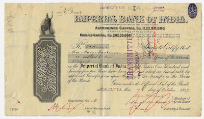 share of the Imperial Bank of India