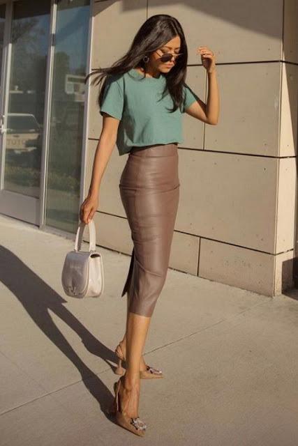 С чем носить кожаную юбку 1-2