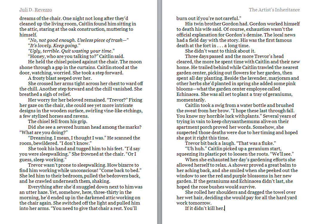 The Artist's Inheritance, Juli D. Revezzo, page 2, witch fiction, paranormal, fantasy, pagan fiction