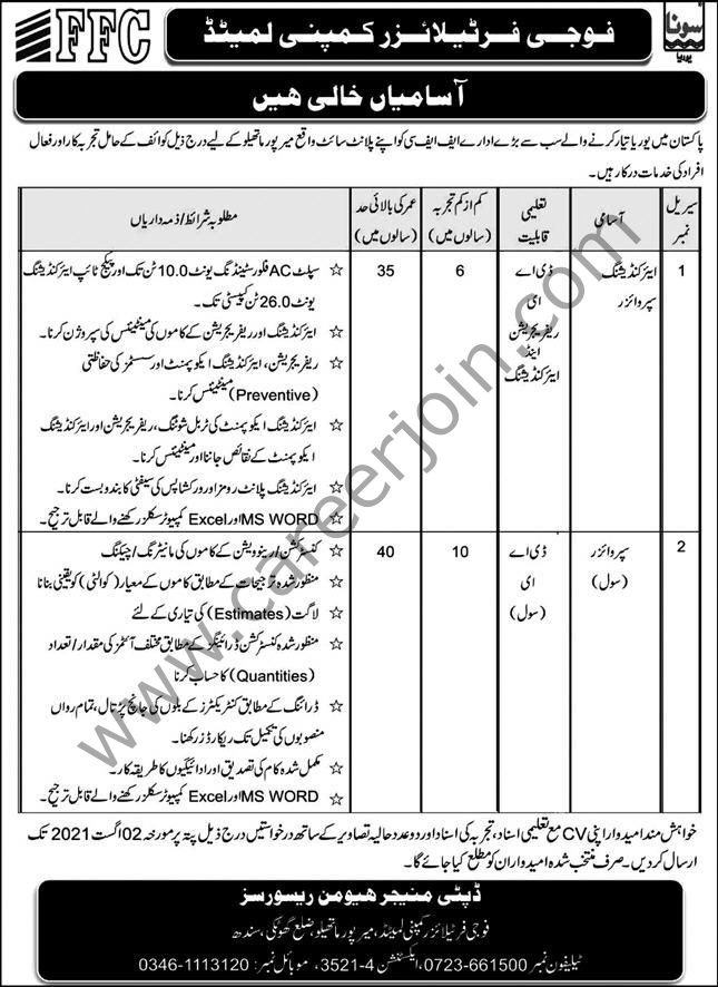 Fauji Fertilizer Company Ltd FFC Jobs 2021 in Pakistan