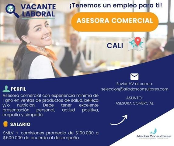 Oferta de Trabajo y Empleo en Cali como Asesora Comercial