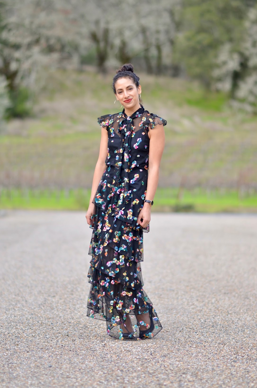 monique lhuillier, ML monique lhuillier, wine country style, best ball gown, how to wear a ball gown, floral ballgown, floral monique lhuillier ball gown