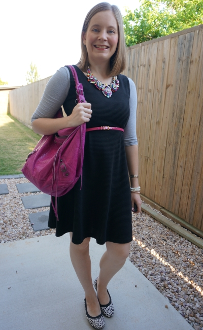 sleeveless fit and flare dress lbd with pink accessories and tee layered underneath | awayfromblue