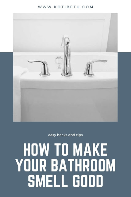 How to make your bathroom smell good. Use these hacks and tips to deep clean your bathroom so it always smells fresh.  How to keep your bathroom clean with vinegar, baking soda, and other cleaners.  Get ideas for cleaning your shower, toilet, faucets, floors, and sink. Also includes a diffuser blend for fresher air. #bathroom #clean #hack #tips #smellgood