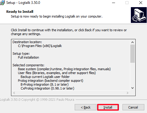 Logtalk download and installation tutorial for Windows 10