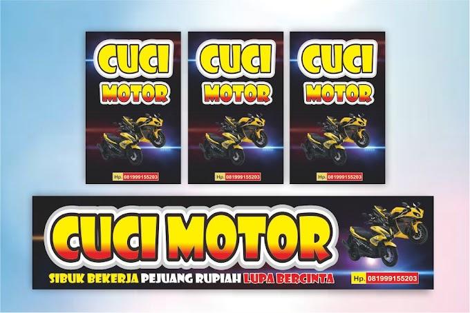 Download Desain Banner Cuci Motor