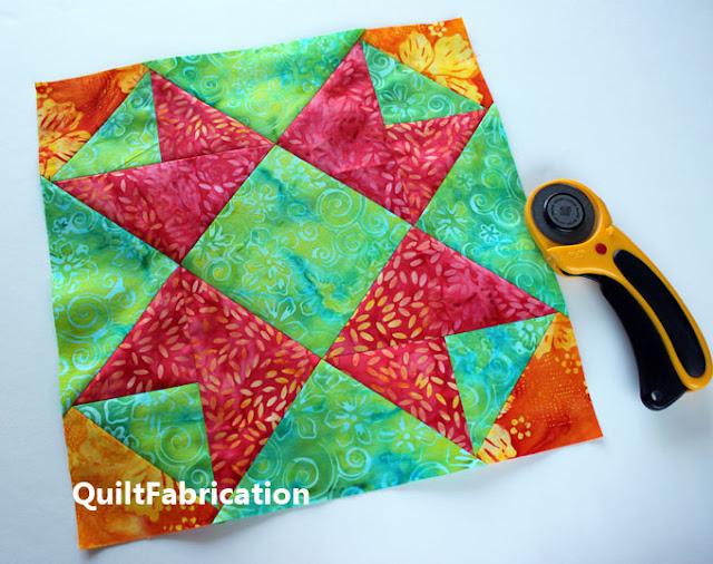orange green and pink quilt block
