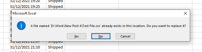 Warning message when try to save with existing file name