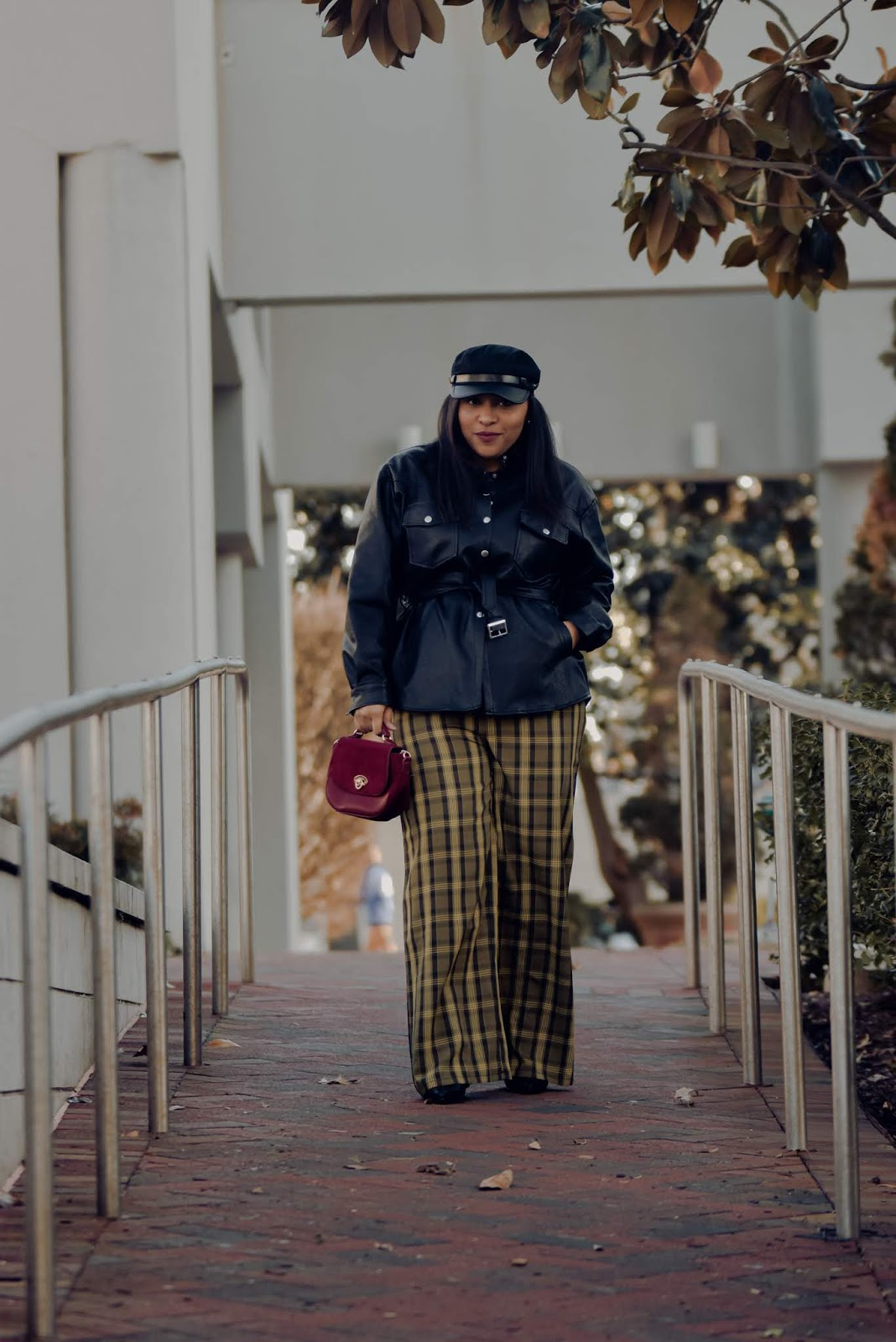 shein, shein reviews, tartan print, tartan trend, plaid pants, chic winter outfits, pattys kloset, yellow tartan pants