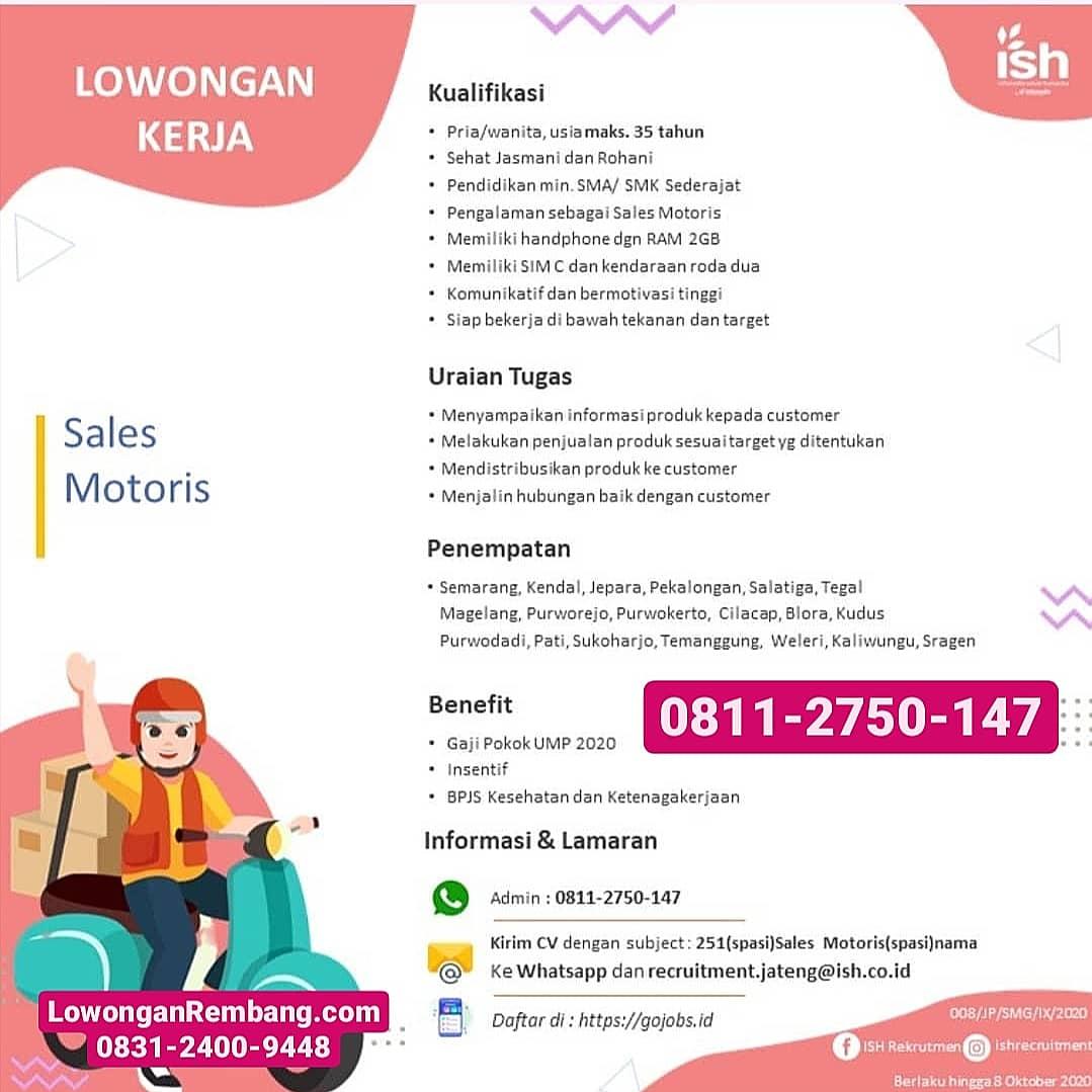 Lowongan Kerja Sales Motoris PT Infomedia Solusi Humanika Area Jateng Dapat Gaji UMP 2020 Insentif BPJS Kesehatan Ketenagakerjaan
