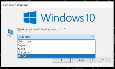 cara merestart laptop alt f4