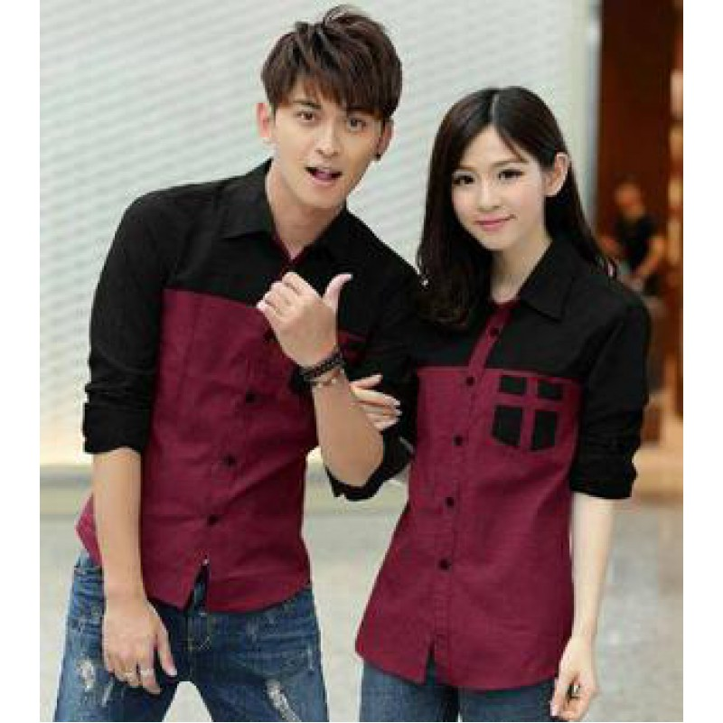 Jual Kemeja Couple Kemeja Couple Avery Merah - 24211