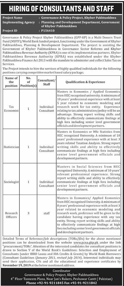 Planning and Development Jobs in KPK 2019