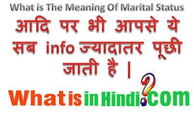 Marital status का मतलब क्या होता है