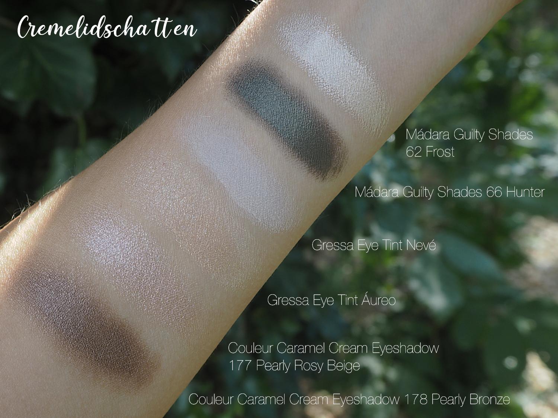 Cream Eyeshadow Swatches verblendet von Mádara, Gressa und Couleur Caramel