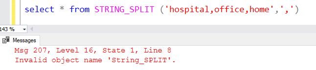 Invalid Object Name STRING SPLIT In SQL Server