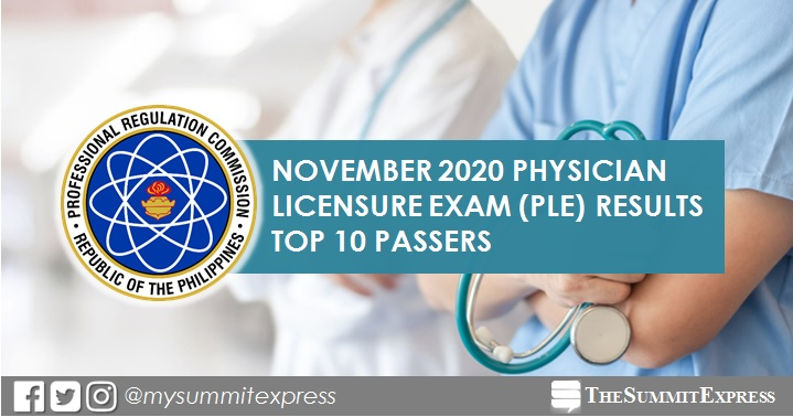 PLE RESULTS: November 2020 Physician board exam top 10 passers