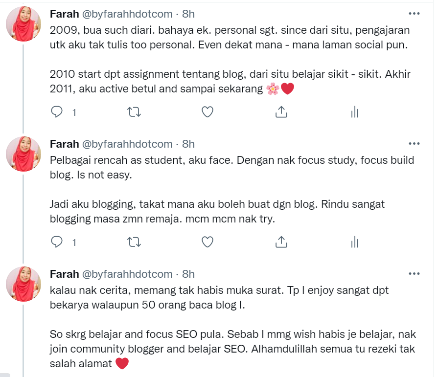 Diary farahh - Hari ni mengarang dekat Twitter