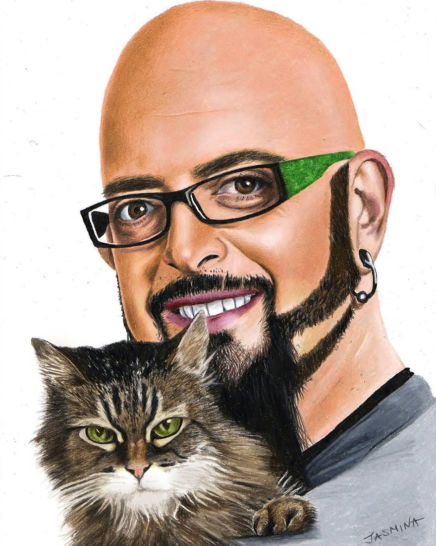 05-Jackson-Galaxy-and-his-Cat-Velouria-Jasmina-Susak-Realistic-Animal-Drawings-with-Colored-Pencils-www-designstack-co