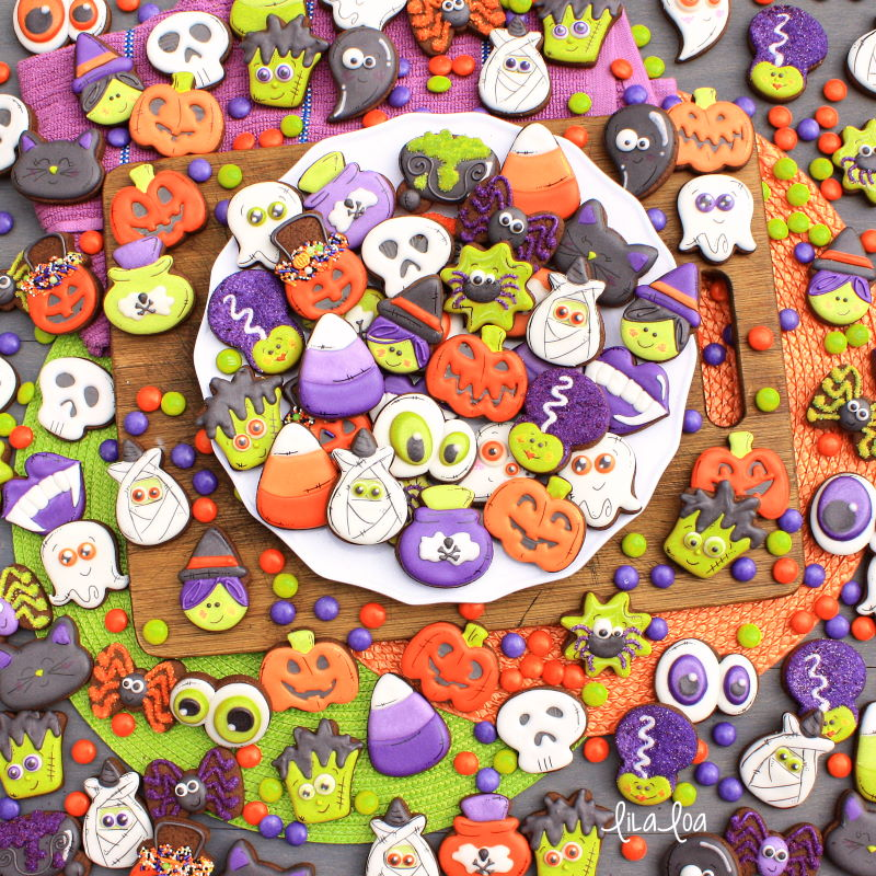 Brightly colored fun and easy Halloween sugar cookie decorating