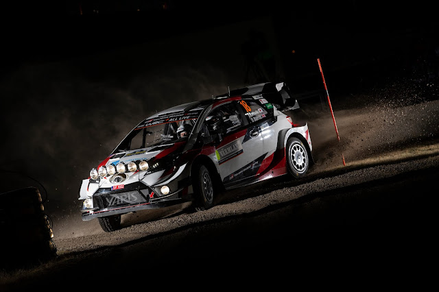 Rally Car with spot lights on Rally Sweden