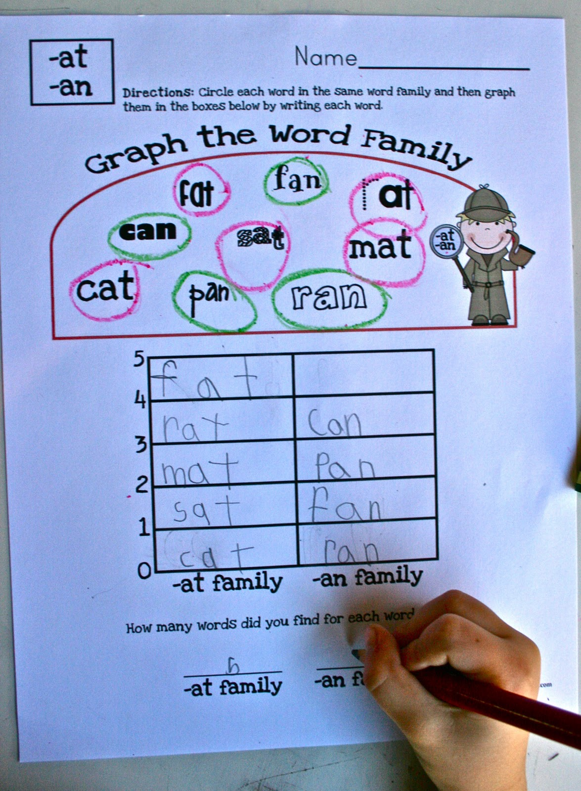 New Word Family Graphing