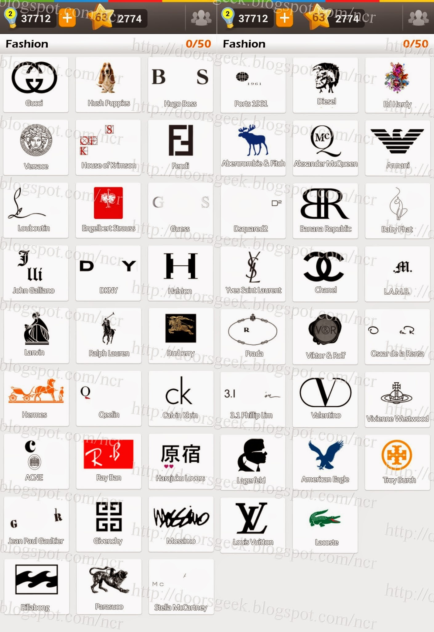 Logo Game Guess The Brand Bonus Fashion Doors Geek