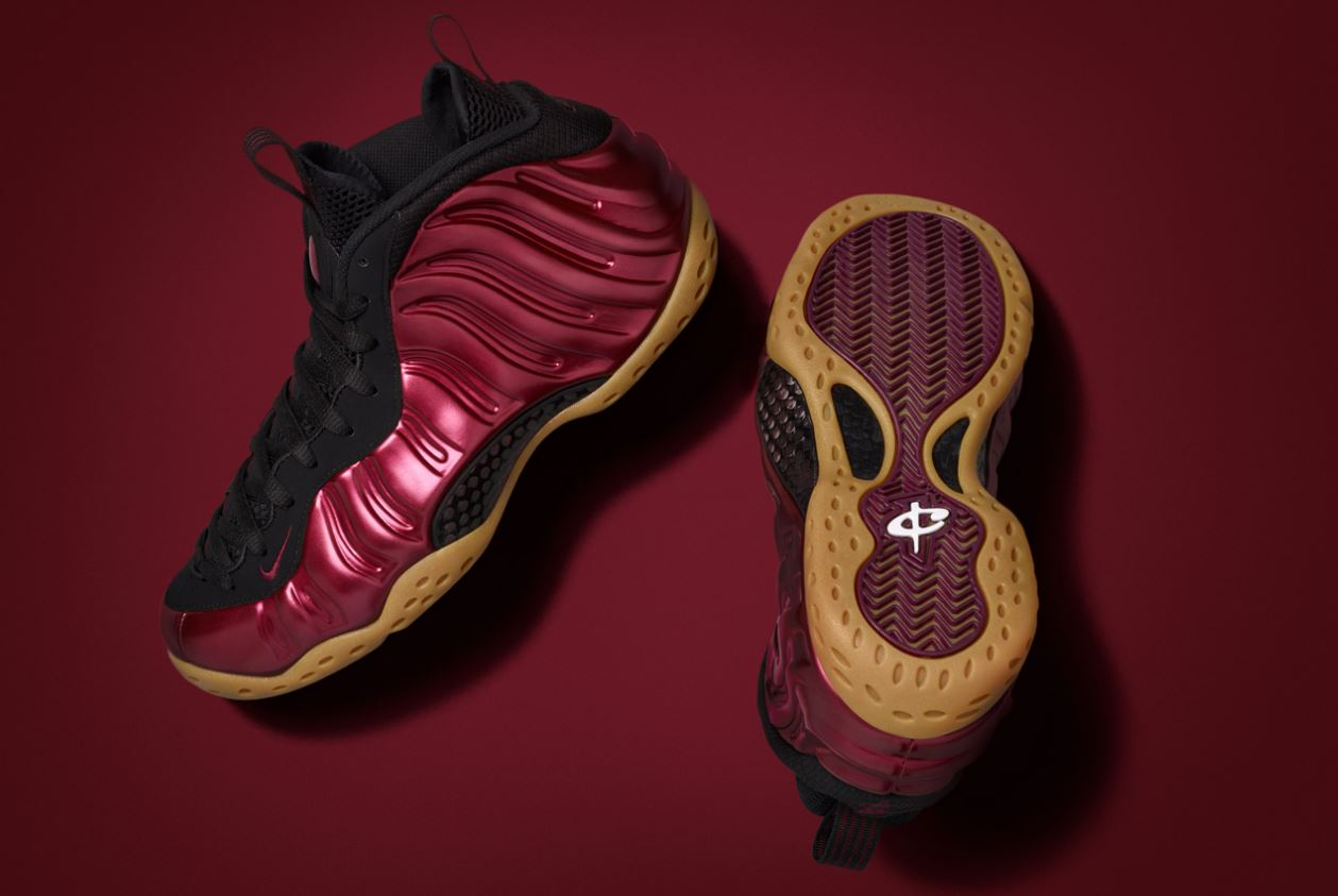 6d6f4b88b65 ... denmark here is a the nike foamposite one maroon gum bottom sneaker  available at 10am est
