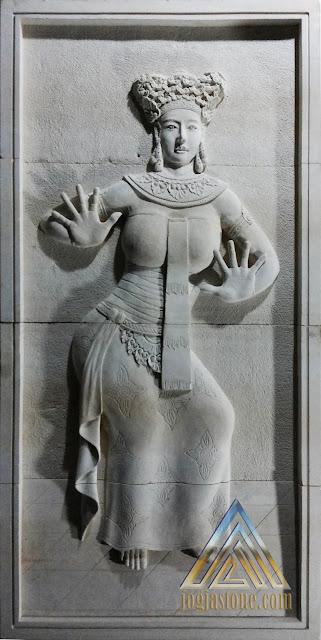 Relief batu alam paras jogja atau batu alam paras putih, relief tari bali