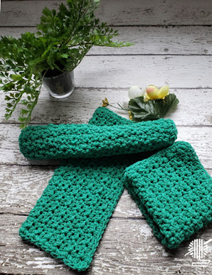 Handmade Green Cotton Dish Cloths