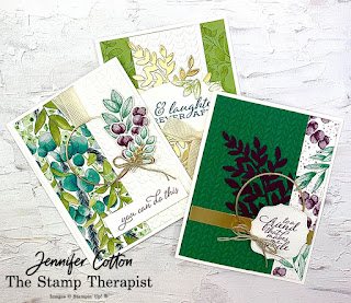 These three cards from my latest Facebook Live use Stampin' Up!'s Forever Greenery Suite.  Click the pic to see video and supply list.  #StampTherapist #StampinUp