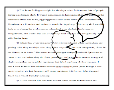 Word document with superimposed cartoon of talking face