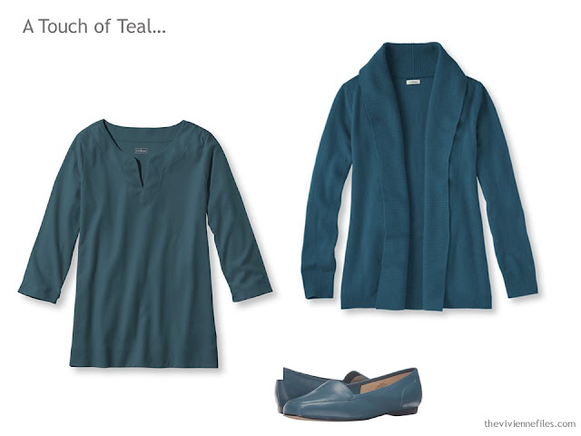 3 wardrobe accent pieces in teal green/blue