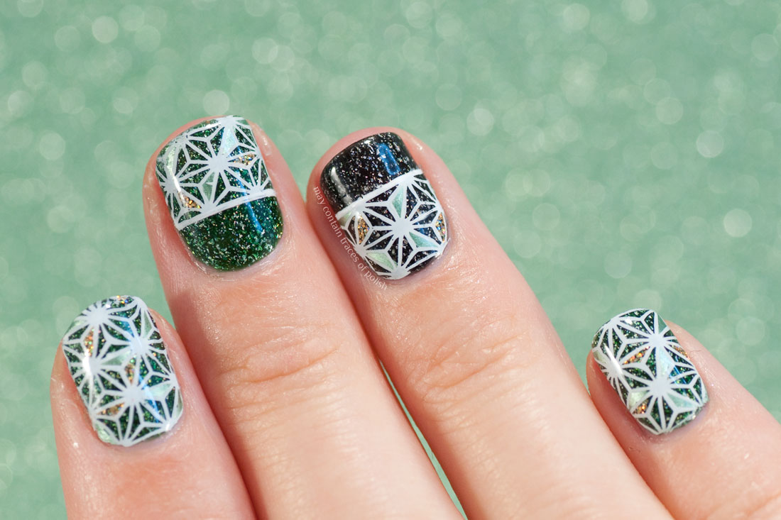 Star Nail Art - MoYou Suki 04 green and black holographic manicure