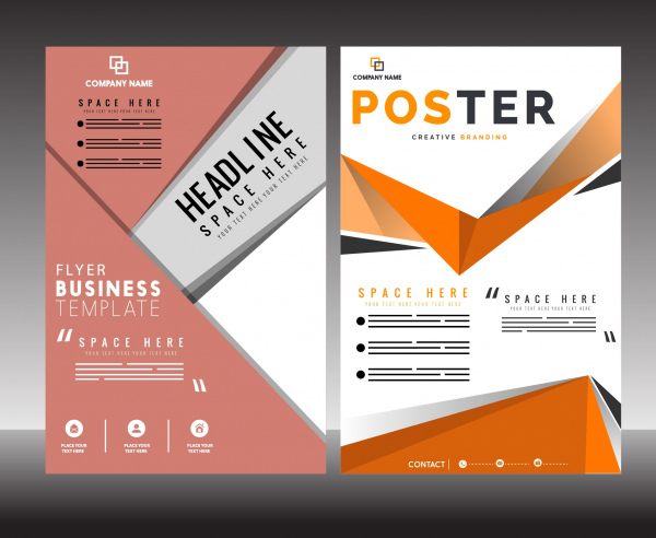 Business flyer poster template abstract modern decor Free vector