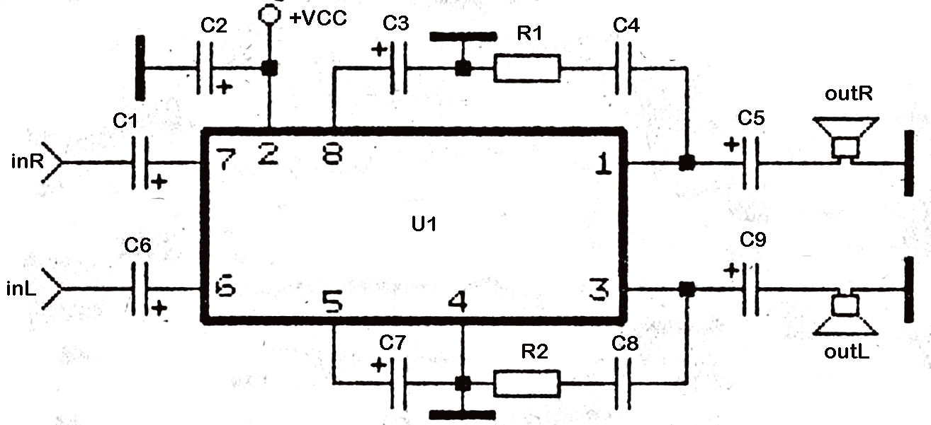 stereo tda2822 audio power amplifier circuit subwoofer bass amplifierbelow its schematics of tda2822 stereo audio power  [ 1314 x 601 Pixel ]