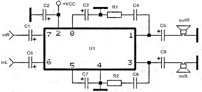 Stereo TDA2822 audio power amplifier circuit ~ Diagram circuit