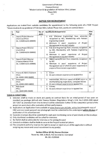 Latest jobs-Finance Division Federal Govt of Pakistan jobs 2021