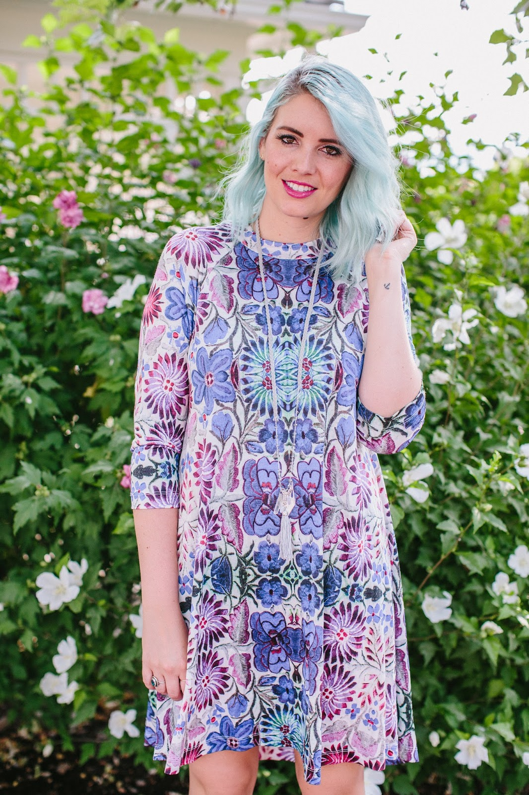 Anthropologie Dress, Blue Hair, Pink Lips