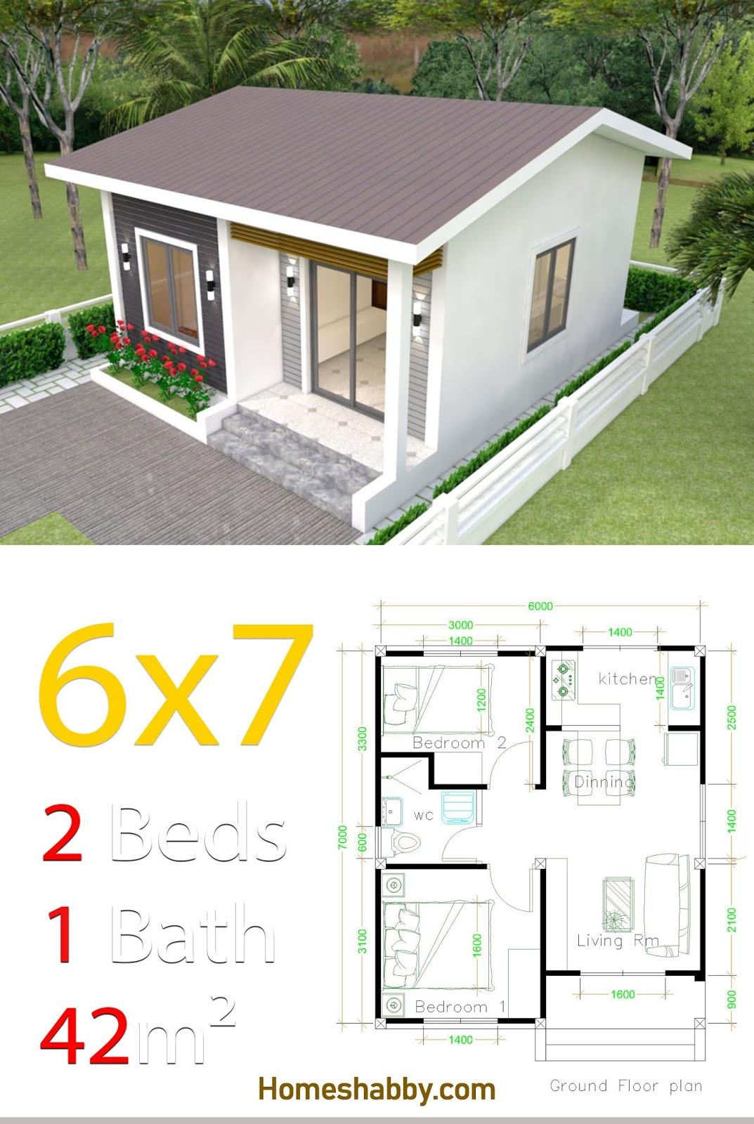 Desain Dan Denah Rumah Minimalis Modern Dengan Luas Tanah 7 X 6 M 42 M2 Rumah Mungil Dengan 2 Kamar Tidur Homeshabby Com Design Home Plans Home Decorating And Interior Design