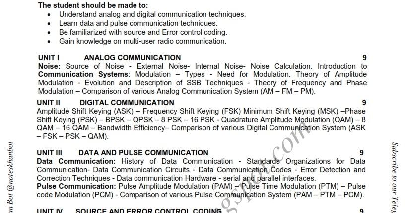 CS6304 Analog and Digital Communication -Syllabus-Semester