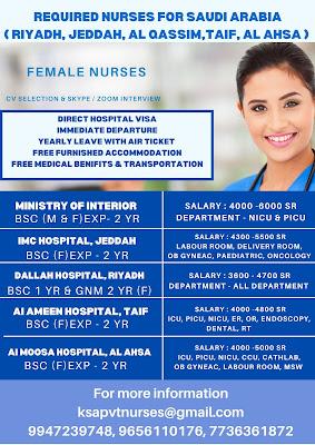 Urgently Required Nurses for Saudi Arabia (Riyadh, Jeddah, Al Qasim, Taif, Al Ahsa)