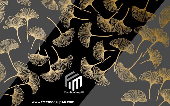 Golden Leaves Texture Line Wallpaper Background Wall 3D Models PSD