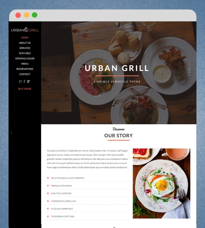 Urban Grill (Best Single Page WordPress Theme)