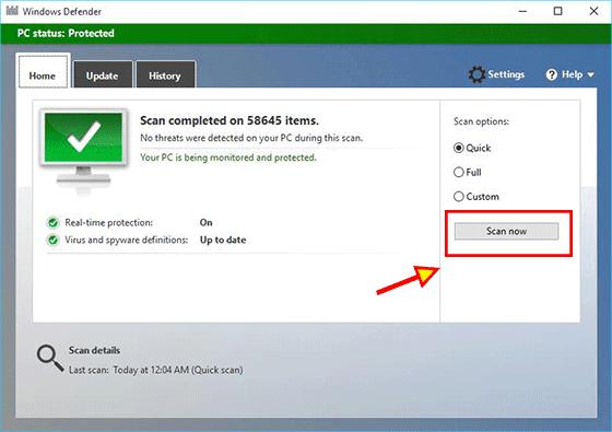 scan malware in Windows Defender