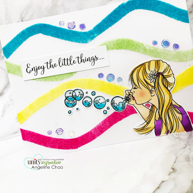 ScrappyScrappy: Happy June with Unity Stamp - Little Bubbles #scrappyscrappy #unitystampco #card #cardmaking #youtube #quicktipvideo #stamping #littlebubbles #bubblegirl #thermoweb #decofoil #flocktransfersheet #copicmarkers #unitysequins #auroraborealis #bubblegirl #flocking