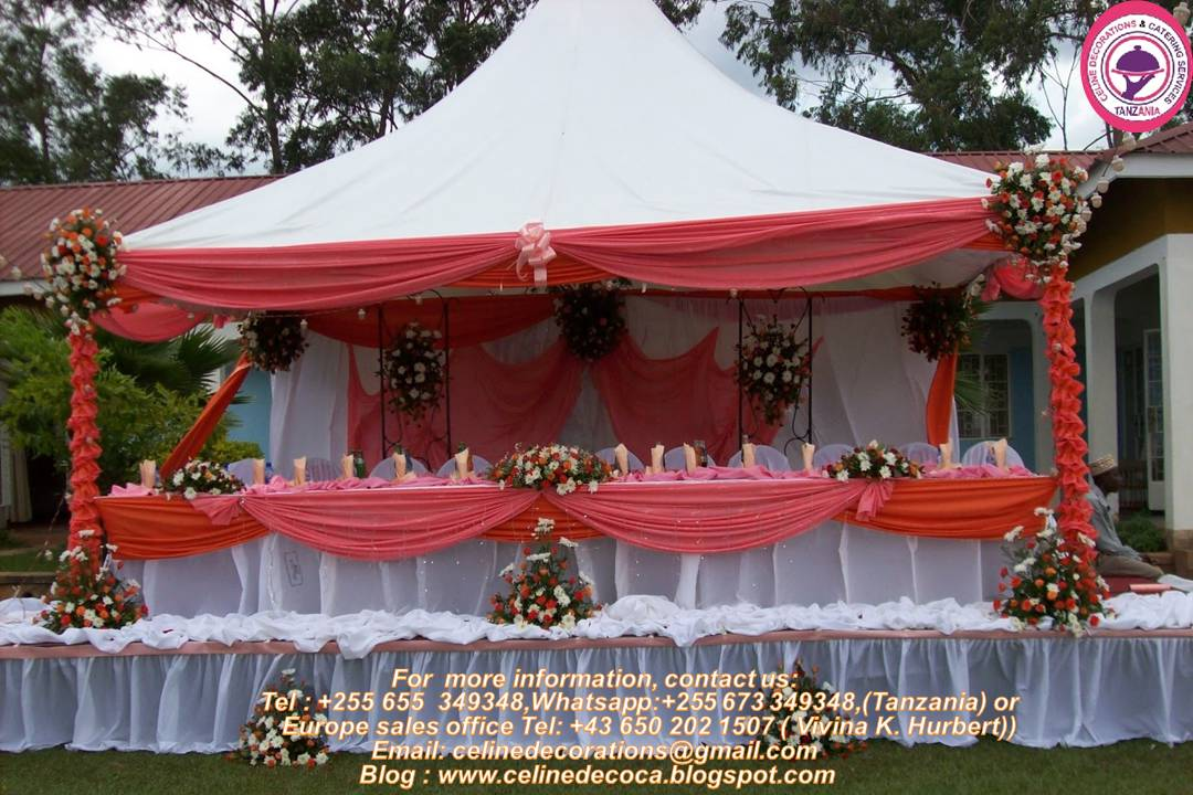 Decoration celine decorations catering services and respected in the industry so you can take advantage of these wedding specials without a worry in tanzania call us today for free quotation junglespirit Image collections