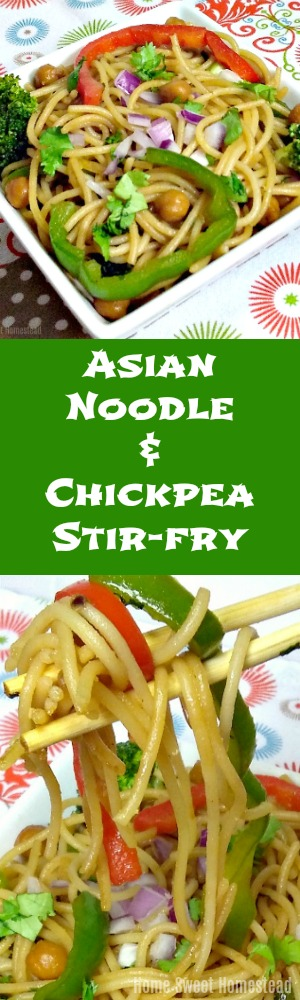 Asian Noodle & Chickpea Stir-fry - Home Sweet Homestead